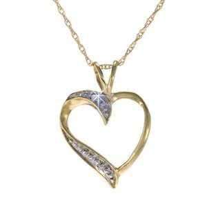 10k Yellow Gold Diamond Heart Pendant with Chain Jewelry