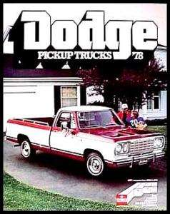 1978 Dodge Pickup Truck Brochure Power Wagon!