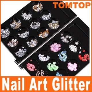 Nail Art Decorations Fimo Flower Slice Glitter Shiny Rhinestone