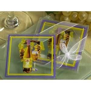 Wedding Favors Elegant white wine theme glass coaster (Set