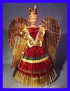 TT3 * BEUATIFUL GOLDEN ANGEL CHRISTMAS ORNAMENT ANTIQUE GERMAN
