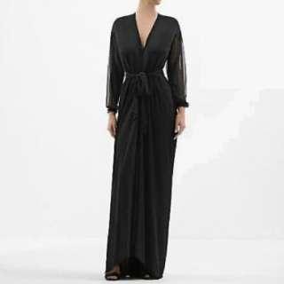 YVES SAINT LAURENT $1995 belted waist dress gown S NEW black silk