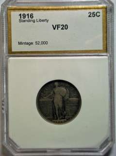 1916 STANDING LIBERTY QUARTER VF NICE ORIGINAL COIN