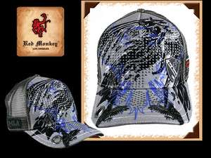 Red Monkey RAVEN PREY cap trucker hat Grey embroidered Limited edition