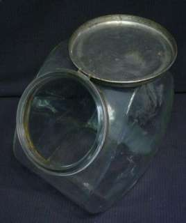 1920S CANDY STORE COUNTER DISPLAY GLASS JAR W/ TIN LID