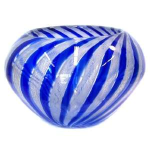 Murano Art Glass Vase Bowl Blue with Filigranna A64