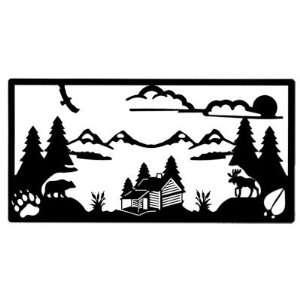 Log Cabin, Moose, Bear, Pine Trees, & Mountain Scene Wall