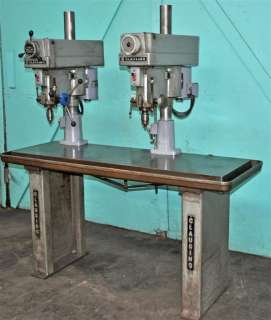 "CLAUSING 15"" TWO HEAD DRILL PRESS with 65"" PRODUCTION TABLE"