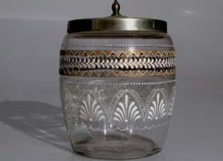 VINTAGE BLOWN GLASS COOKIE JAR/ BISCUIT BARREL WITH ENGRAVED EPNS LID