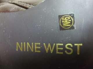 BROWN KNEE HIGH Womens BOOTS 4½Heel Sz.9½ med.NINE WEST Tornadox