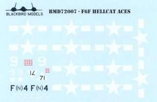 Decals Blackbird 1/72 GRUMMAN F6F HELLCAT ACES