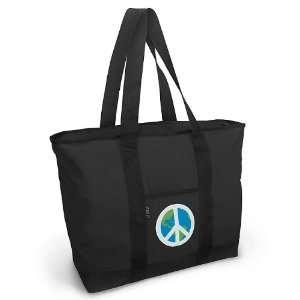 World Peace Sign Tote Bag Black