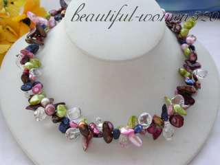 2row 19 pink green coffee biwa PEARL crystal NECKLace
