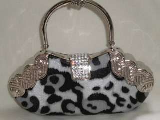 Silver/Black leopard Print Crystals Evening Clutch Bag