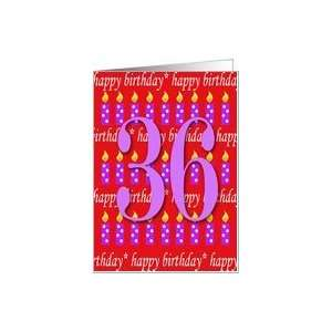 36 Years Old Lit Candle Happy Birthday Card Toys & Games