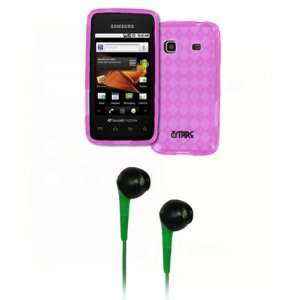 EMPIRE Hot Pink Diamond Poly Skin Cover Case + Green 3.5mm