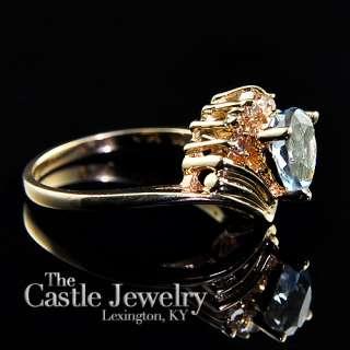 LADIES PEAR SHAPED AQUAMARINE & .10 CARAT DIAMOND COCKTAIL RING 14K YG