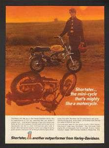 1972 Harley Davidson Shortster Mini Motorcycle Print Ad