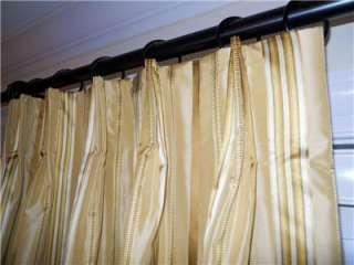 taffeta silk drapes designer striped curtains yellow gold custom made