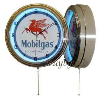 15 Mobil Gas Oil Gasoline Sign Blue Neon Clock NEW |