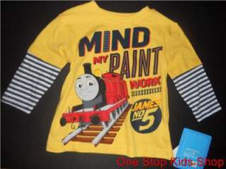 THOMAS THE TRAIN Tank Boys 2T 3T 4T Top SHIRT Long Sleeve JAMES NO #5