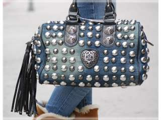 Designer Inspired All Over Armor Studded w. Shoulder Strap Denim