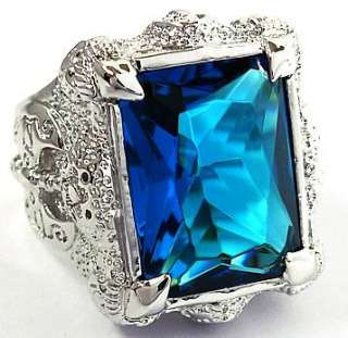 BIG BLUE TOPAZ DRAGON CLAW AXE SILVER PLATED RING Sz 14