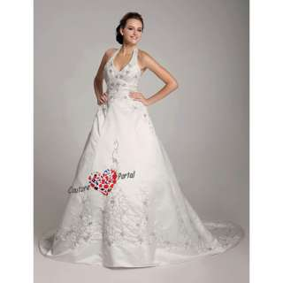 line Halter Court Train Embroidery Wedding Dress