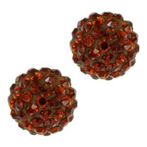 Round Cognac Red Color Pave Crystal Disco Ball Stud Earrings Jewelry