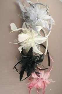 Net Flower Feather Fascinator Slim Alice Hair Head Band Bridal Wedding