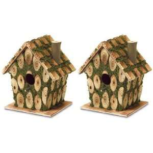 Edged Wood Wooden Birdhouses Bird House Feeder Patio, Lawn & Garden