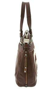 Makowsky BROWN ZEBRA PRINT CALF HAIR LEATHER PLEATED THIN SHOULDER