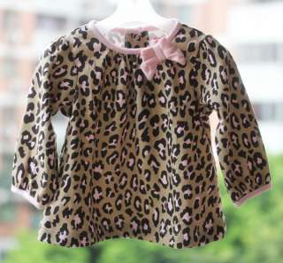 Baby Girls Animal Leopard Print Top Tee T Shirts Size 6 9 12 18 24