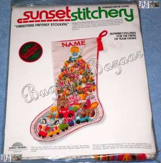 Sunset CHRISTMAS FANTASY Crewel Stitchery Stocking Kit