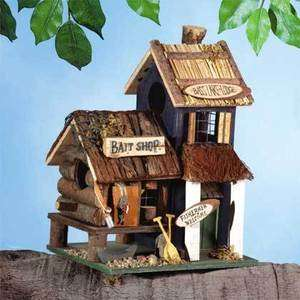 FISHING LODGE BIRDHOUSE Folk Art Wood Bird House NEW