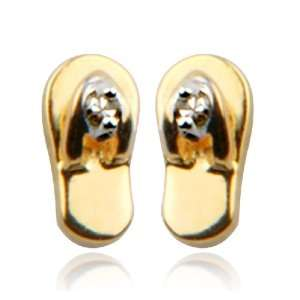 Gold Plated Sterling Silver Diamond Accent Flip Flop Earrings Jewelry
