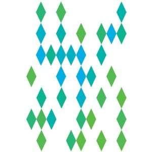 Wall Hugs Diamond Wall Decal, Blue and Green