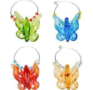 Butterfly Wine Charms Set 4 NIB Glass Mixed Colors