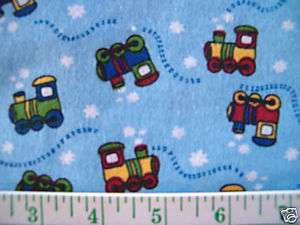 SQUARES RAG QUILT FLANNEL FABRIC TRAINS F/S
