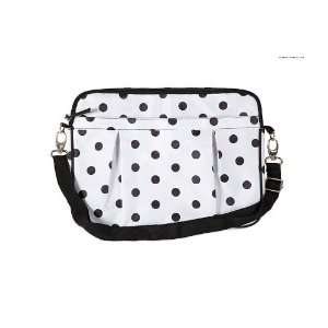 Pinup Retro Black & White Polka Dot Padded Laptop Bag   Medium 13