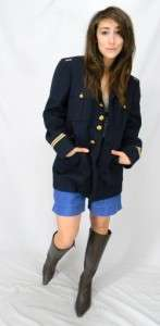 SEXY Vintage WOOL MILITARY Academy NAVY BLUE Gold Buttons COAT Blazer