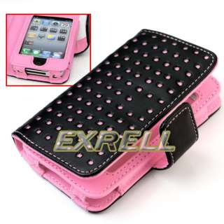 PINK DOT LEATHER CASE COVER POUCH FOR IPOD TOUCH 4TH 4 4GEN HOT