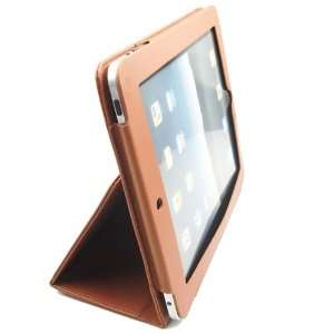 Brown Protective Leather Case Cover Folio with Stand for Apple iPad