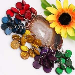 Bulk 5PCS Mixed Coconut Shell Coin Bead Dangle Earrings