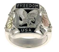 Hills Gold and Sterling Silver Black Onyx Freedom Ring