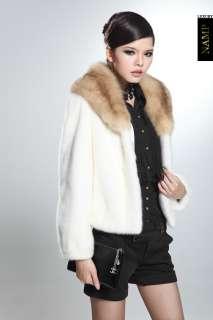 2011 SAGA Womens Top luxury mink fur MINK Coat Marten fur white + NEW