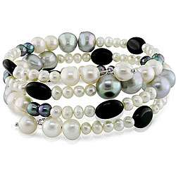 Multi color Pearl and Onyx Bead Coil Bracelet (4 9 mm)