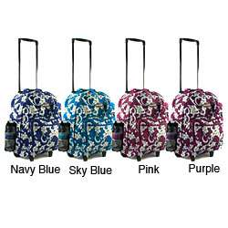 Tropical Flower 18 inch Rolling Carry On Backpack
