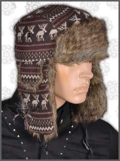 AM Dark Brown Green Deer Earflaps Aviator Bomber Beanie Hat Cap Snow