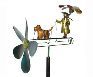 Girl Dog Raincoat Whirligig Pole Yard Decoration Gift